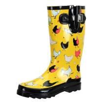 SheSole Women's Waterproof Rubber Chicken Printed Garden Rain Boots