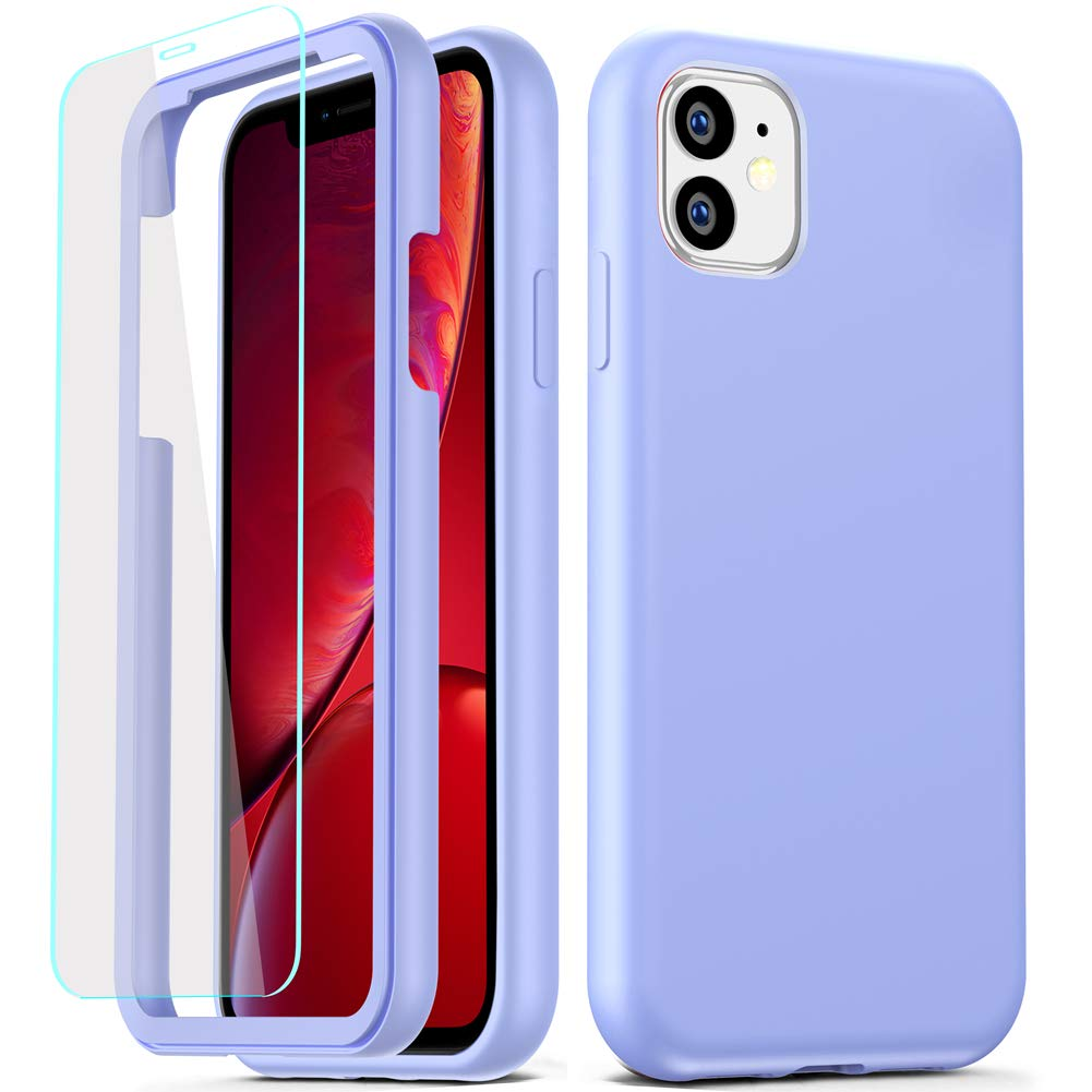 COOLQO Compatible for iPhone 11 Case, 360 Full Body Coverage Hard PC+Soft Silicone TPU 3in1 Shockproof Matte Phone Cover Certified Military Protective with [2 x Tempered Glass Screen Protector]-Purple