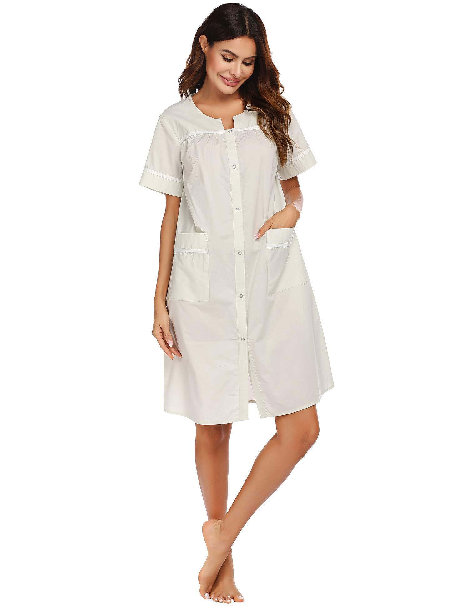 Ekouaer Sleepwear Women Snap/Button Front Housecoats Cotton Dusters Short Sleeve House Dress S-XXL