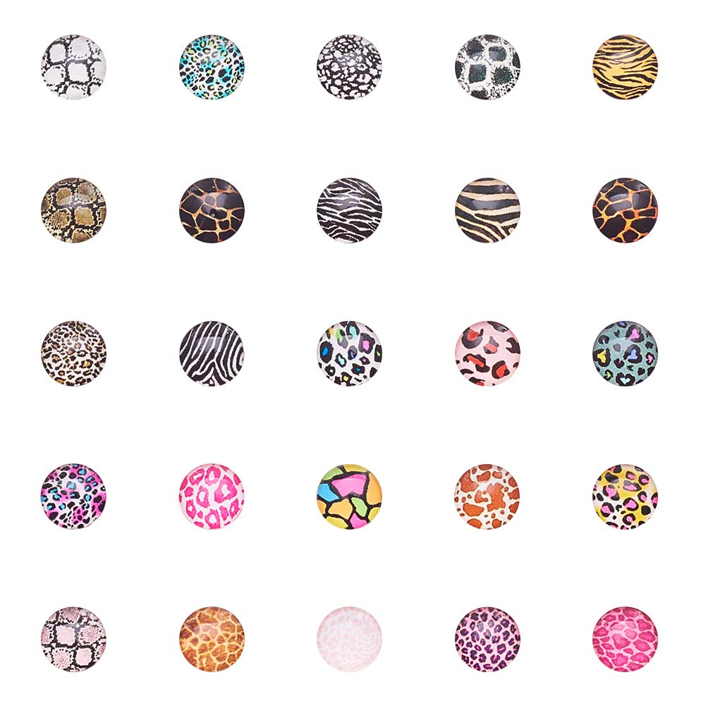 Pandahall 1 Box(About 200pcs) 10mm Mixed Color Printed Half Round/Dome Glass Cabochons for Jewelry Making (Animal Skin)