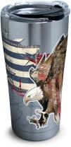 Tervis 1305035 Americana Distressed Flag Stainless Steel Insulated Tumbler with Clear and Black Hammer Lid, 20oz, Silver