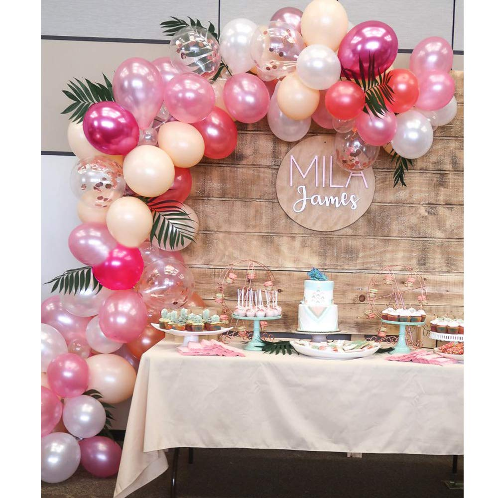 Soonlyn Latex Balloons Confetti Balloons Pink 12 Inch 61 PCS Matte Pink Blush Balloons Arch Kit for Baby Shower Princess Birthday Party Decorations Wedding Supplies - 8 Colors