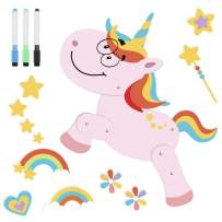 D-FantiX Jointed Fun Unicorn Refrigerator Magnets, Cute Movable Fridge Magnets Rainbow Unicorn Magnet with 4 Magic Pens for Home Decorations