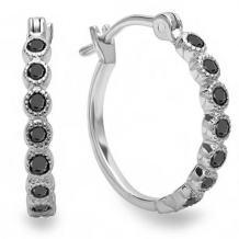 Dazzlingrock Collection 0.25 Carat (ctw) 18K Fine Dainty Hoop Earrings 1/4 CT, White Gold