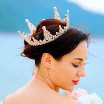 Unicra Bride Wedding Crowns and Tiaras Gold Costume Crystals Black Queen Crown Bridal Headband for Women and Girls (Gold)