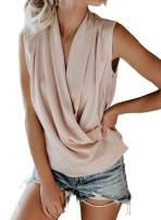 Asvivid Womens Wrap V Neck Drape Tank Tops Summer Sleeveless Blouses Solid Cami Tunic Shirt