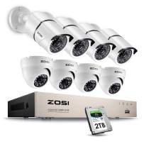 ZOSI 8CH 1080P Security Camera System Outdoor with 2TB Hard Drive,8 Channel 1080P CCTV Recorder and 8pcs HD 1920TVL Home Surveillance Cameras with Night Vision Easy Remote Access Motion Alert