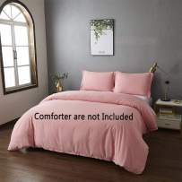 Best Season King Size Bedding Duvet Cover Sets 3 Piece with 2 Pillow Shams,Zipper Closure Super Soft Brushed Microfiber Comforter Cover (PinkColor)