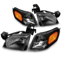 JSBOYAT Headlight Assembly Replacement for 97-05 Chevy Venture / 99-05 Pontiac Montana / 97-04 Oldsmobile Silhouette Headlamp & Signal Marker Lamp Driver and Passenger Side (Black)