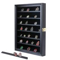 Military Challenge Coin Display Case Lockable Wood Cabinet Rack Holder Black Shadow Box with Removable 2 Grooves Shelves and Anti Fade Real Glass Door for Casino Poker Chips Collectibles