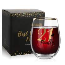 Onebttl 21st Birthday Wine Glass For Her - 17oz Wine Glass (Finally 21) - Best 21 Birthday Cup For Girls, Daughter, Niece - Unique Birthday Ideas For Turning Twenty One - 21 Years Old Presents