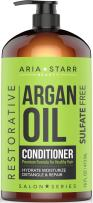 Aria Starr Argan Oil Conditioner With Coconut - Best Natural Sulfate Free Treatment For Dry, Damaged, Color Treated, Frizzy, Curly Hair, 16 FL OZ