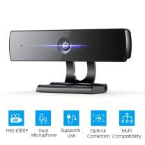 Webcam with Microphone for PC, Full HD 1080P Web Camera, Facial-Enhancement, Light Correction, Noise Canceling, Wide-Compatible, Plug & Play USB Webcam for Laptop Desktop Video Calling, Conferencing