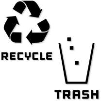 Recycle and Trash Stickers Modern Logo (1 ea) Symbol to Organize Trash cans or Garbage containers and Walls - Vinyl Decal Sticker (Large - 11x11, Reversed - Black Glossy)