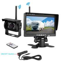 """Podofo Wireless Backup Camera Kit 7"""" HD TFT LCD Vehicle Rear View Monitor + Waterproof Rear View Camera Night Vision Parking System for Truck RV Trailer Motorhome Bus Camper"""