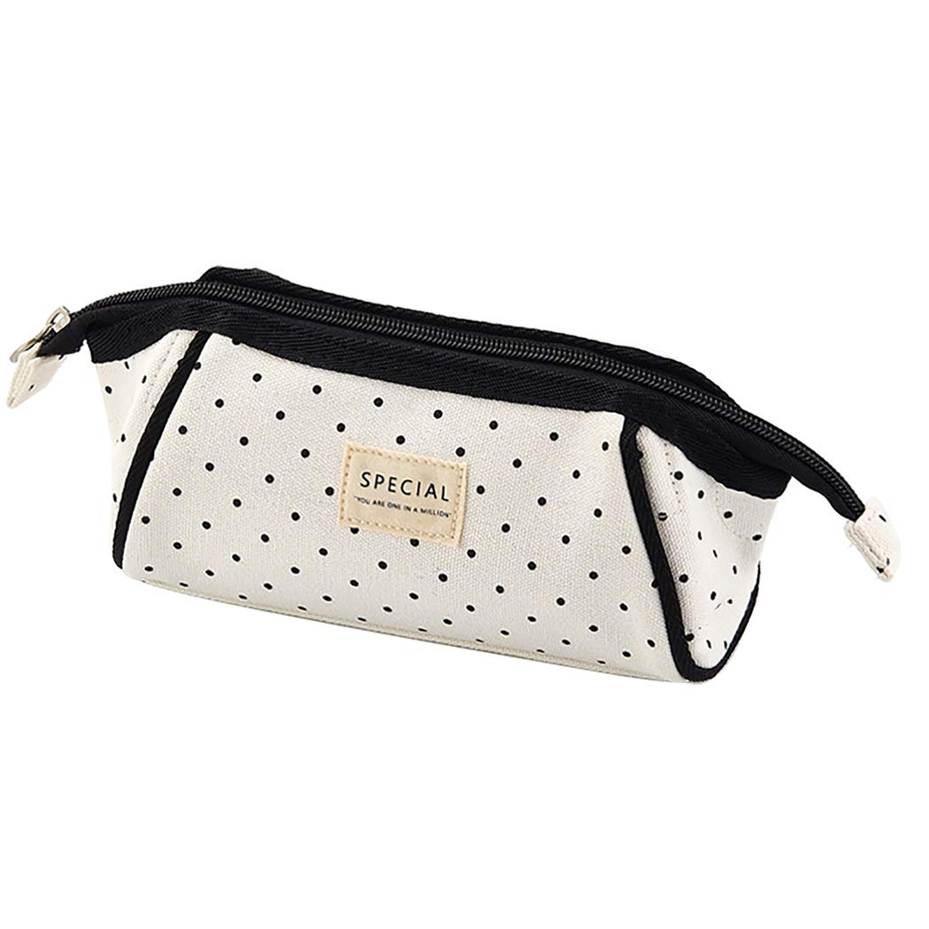 iSuperb Large Capacity Stripe Pencil Case Trapezoid Shape Pen Bag Canvas Stationery Organizer Office Storage Bag Cosmetic Bag with Zipper (Black dots)