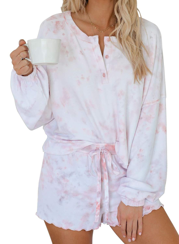 Tiksawon Womens Pajama Sets Tie Dye Cute Short Pajama Set Long Sleeve Tee and Pants Pj Set Loungewear Nightwear Sleepwear