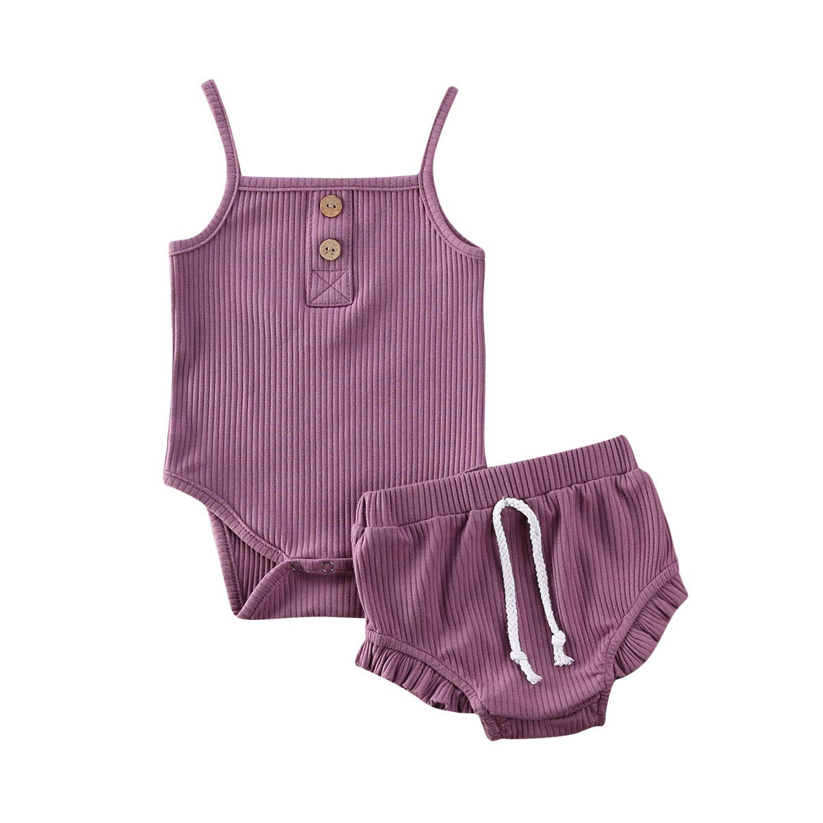 Infant Baby Girls Summer Knit Outfits Button Halter Romper Ruffle Drawstring Shorts Pants 2Pcs Clothes Sets