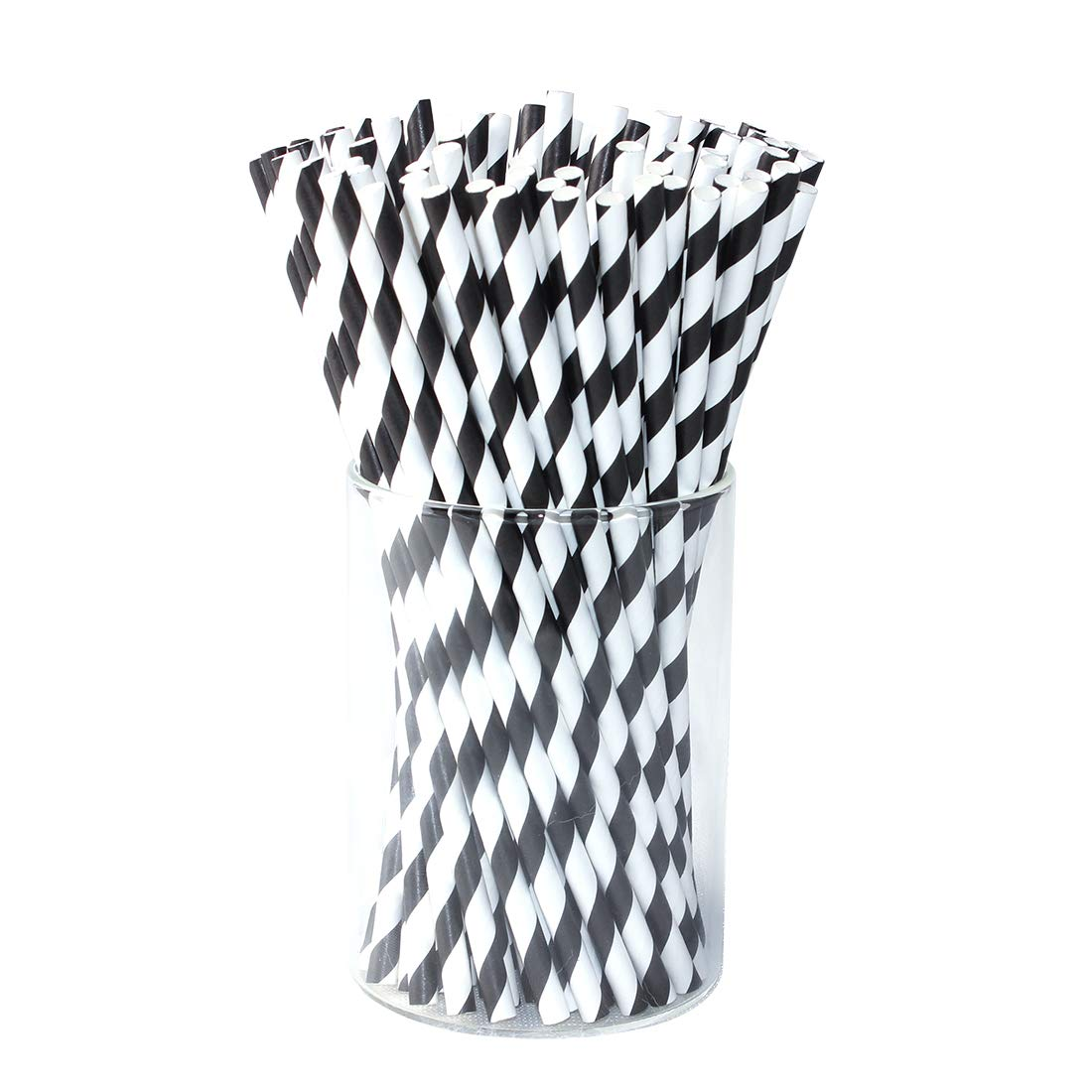 Paper Drink Straws Biodegradable Black - Value Pack 100 Pcs Eco-frendly Straws Bulk for Party Supplies | Birthday | Wedding | Bridal | Baby Shower | DIY Idea (Black&White)