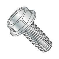 """Steel Thread Cutting Screw, Zinc Plated Finish, Hex Washer Head, Type F, 1/4""""-20 Thread Size, 4"""" Length (Pack of 5)"""