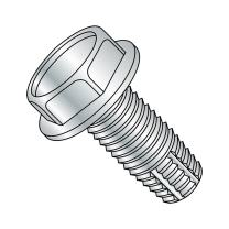 "Steel Thread Cutting Screw, Zinc Plated Finish, Hex Washer Head, Type F, 1/4""-20 Thread Size, 4"" Length (Pack of 5)"