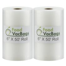 Two 6 X 50 Rolls of FoodVacBags Vacuum Sealer Bags for vacuum sealer machines