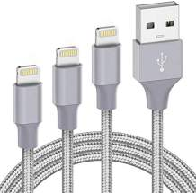 Marchpower USB Lightning Cable 3Pack 3ft 6ft 10ft Charging Cord Nylon Braided Fast Charging Cable Compatible with iPhone SE 11 X Xs Max XR 8 Plus 7 Plus 6S Plus 6 Plus 5 5S 5C SE iPod iPad Pro Gray