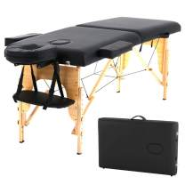 Massage Table Lash Bed Spa Bed Pu Portable Massage Bed Adjustable Height 2 Fold w/Free Carry Case Foldable Lightweight Wax Table Eyelash Bed Tattoo Bed With Head Rest Arm Sling-Black