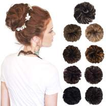 SEIKEA 1PCS Messy Hair Bun Scrunchies Hair Piece Curly Wavy Hair Donut Updo Synthetic Ponytail Extensions for Women Girls(Color:#6BH25)