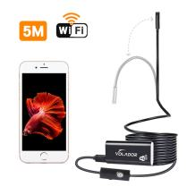 VOLADOR 16.5ft WiFi Endoscope, 2.0MP HD Wireless Inspection Camera, 8mm Semi-Rigid Borescope Flexible Waterproof Snake Camera for iOS and Android Smartphones, Tablets, Laptop, Windows