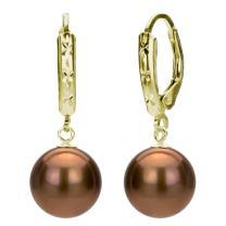 Cultured Freshwater Pearl Earrings Lever-back Jewelry for Women 9-9.5mm