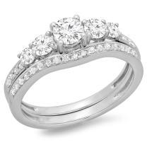 Dazzlingrock Collection 1.00 Carat (ctw) 14K Gold Round Cut Diamond 5 Stone Ladies Bridal Engagement Ring Matching Band Set 1 CT