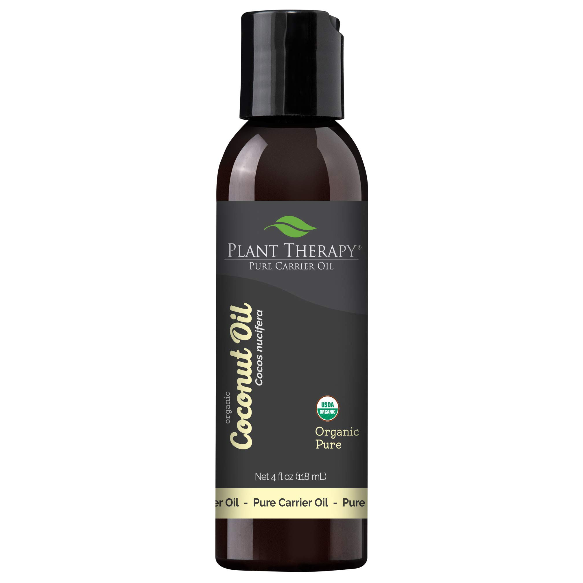 Plant Therapy Essential Oils Organic Fractionated Coconut Oil for Skin, Hair, Body 100% Pure, USDA Certified Organic, Natural Moisturizer, Massage & Aromatherapy Liquid Carrier Oil 4 oz