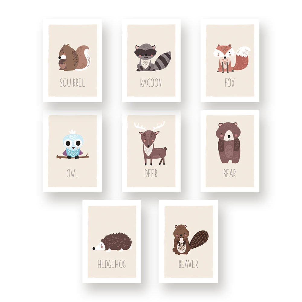 Kindred Sol Collective Woodland Wall Art Nursery Decor - Set of Eight 5x7 Forest Animals Prints for Kids Room (Hedgehog, Squirrel, Owl, Deer Beaver, Fox, Bear Raccoon)