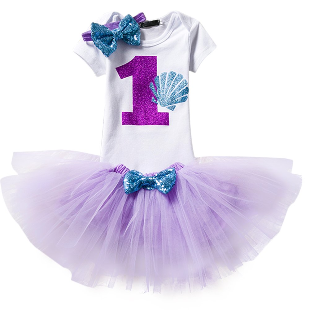 Baby Girl It's My 1st Birthday 3Pcs Outfits Skirt Set Romper+Tutu Dress+Headband Cake Smash Crown Bodysuit