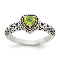 925 Sterling Silver 14k Green Peridot Band Ring S/love Gemstone Fine Jewelry For Women Gift Set