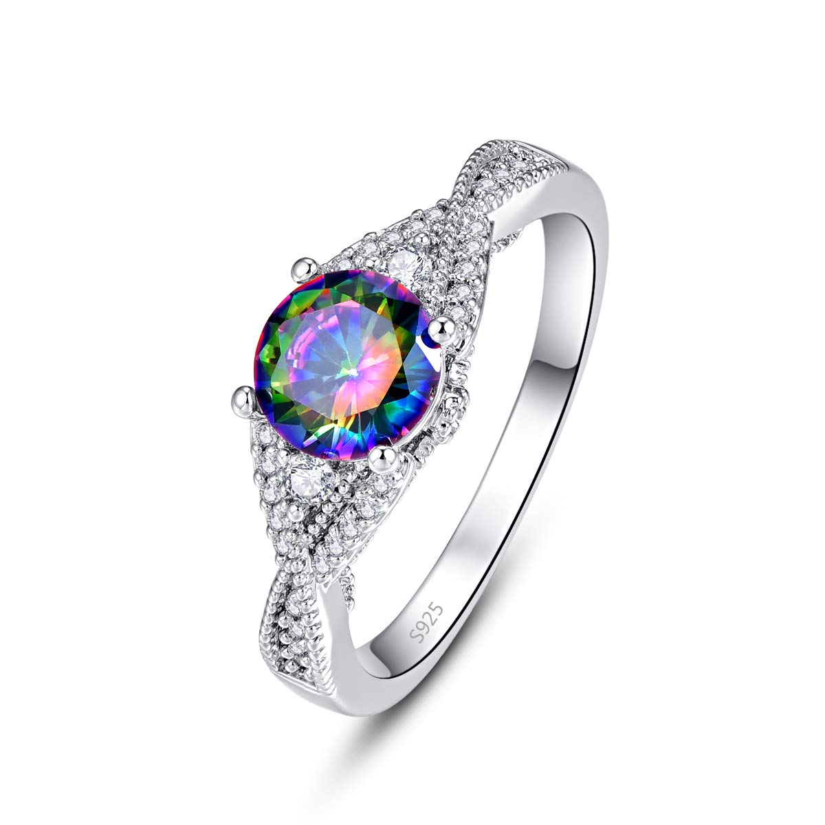Momius 925 Sterling Silver Created Rainbow Topaz Brilliant Round Cut Wave Side Band Ring for Girls Women