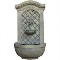 Sunnydaze Rosette Outdoor Solar Wall Fountain with Battery Backup - Outside Patio and Garden Water Feature with Rechargeable Solar Battery - French Limestone Finish