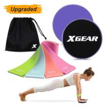 XGEAR Core Sliders and 4 Resistance Bands for Fitness Equipment for Home for Intense, Low-Impact Exercises to Strengthen Core, Glutes