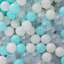 PlayMaty Play Ball Pit Balls - 2.36inches Phthalate&BPA Free Plastic Ocean Colour Balls for Kids Toddlers and Babys for Playhouse Play Tent Playpen Pool Party Decoration Pack of 70 (Light Blue)