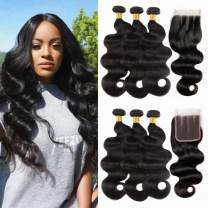 NUOF 9A Brazilian Body Wave 3 Bundles with Closure (10 12 14+8inch Three Part)100% Unprocessed Virgin Human Hair Weave Bundles with 4x4 HD Lace Closure