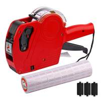 MX-5500 8 Digits Price tag Gun with 5000 Sticker Labels and 3 Ink Refill, Label Maker Pricing Gun Kit Numerical Tag Gun for Office, Retail Shop, Grocery Store, Organization Marking (Red)