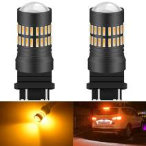 KATUR 2 X 1200 Lumens Super Bright 3157 3156 3057 3056 4157 LED Bulbs 4014 48-EX Chipsets with Projector for Turn Signal Lights Sidemarker Lights, Amber Yellow 9-30V