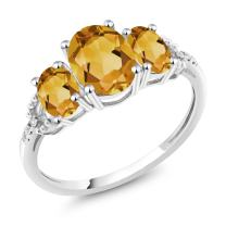 Gem Stone King 10K White Gold Diamond Accent 3-Stone Engagement Ring set with 2.15 Ct Oval Yellow Citrine (Available 5,6,7,8,9)
