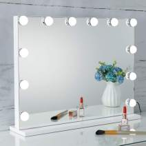 SHOWTIMEZ Vanity Mirror with Lights Hollywood Lighted Makeup Mirror with Dimmer, Adjustable 3 Lighting Color, Tabletop Mirror with USB Port, Touch Screen Control, White, W22.8xH17.5inch