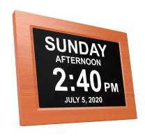 American Lifetime Newest Version, Day Clock Extra Large Impaired Vision Digital Clock with Battery Backup and 5 Alarm Options, Brown Wood