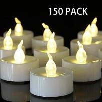 HANZIM Tea Light, 150 Pack Flameless LED Tea Lights Candles Flickering Warm White 100+ Hours Battery-Powered Tealight Candle. Ideal for Party, Wedding, Birthday, Gifts and Home Decoration