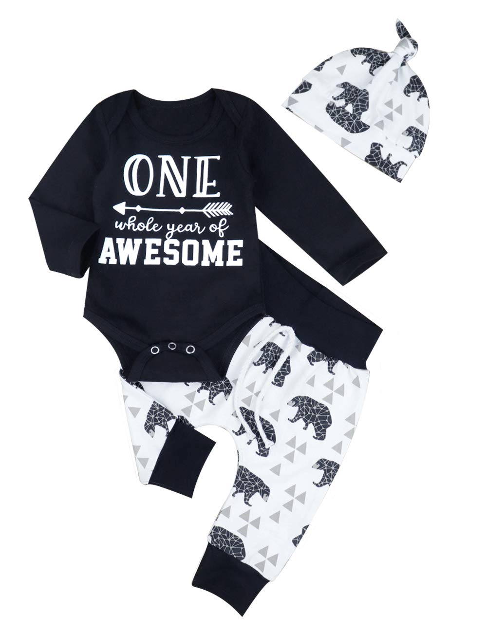 Baby Boys Girls Clothes Long Sleeve Romper One Whole Year Of Awesome Bodysuit+Bear Printed Pants+Hat 3pc Outfits Set(3-6M)