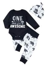 Infant Newborn Baby Boys Girls Clothes Baby Bear Pattern Long Sleeve Romper Bodysuit+Pants + Hat 3pcs Outfit Set