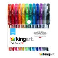 KingArt Studio Soft Grip Gel Pen Set, Set of 12, Assorted Glitter Colors
